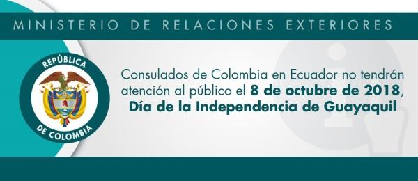Consulados de Colombia en Ecuador no tendrán atención al público el 8 de octubre de 2018, Día de la Independencia de Guayaquil