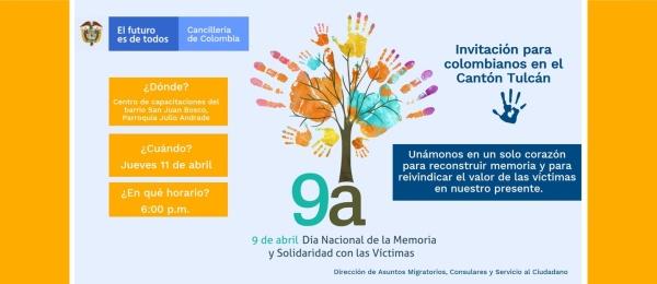 El Consulado de Colombia en Tulcán invita a la conmemoración del Día Nacional de la Memoria y la Solidaridad con las Víctimas, el 11 de abril de 2019